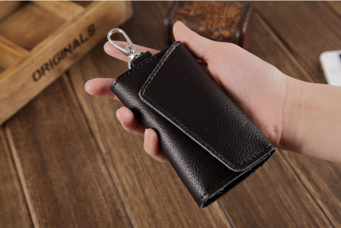 Husa portofel port chei cheie auto, piele naturala, negru, gd1005