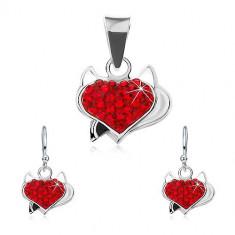 Set de cercei și pandantiv realizat din argint 925, inimă din zirconiu roșu, coarne și coadă neagră