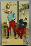 AX 54 CP VECHE INTERBELICA - UMORISTICA MILITARA -LA DENTIST-FARA DURERE -1906, Franta, Circulata, Printata