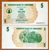 !!! ZIMBABWE - 5 DOLARI 2006 - P 38 - UNC // SERIA AA