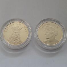 Lot 2 monede Romania 50 bani Stefan cel Mare si Regina Maria/Ferdinand