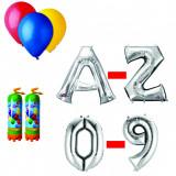 Cumpara ieftin Pachet 10 baloane numere / cifre argintii la alegere, 3 butelii heliu, 100 baloane latex 26cm standard
