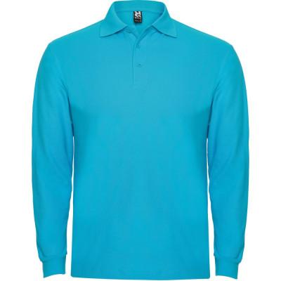 Tricou polo bartati Long Sleeve Estrella Men Polo Shirt turquoise PO6635TURQUOISE foto