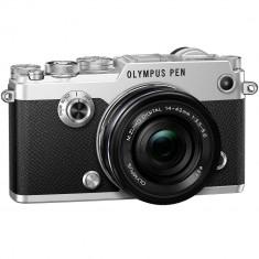 Aparat foto mirrorless Olympus PEN-F, Argintiu + Obiectiv EZ-M11442 14-42mm, Negru