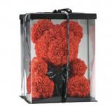 Ursulet din trandafiri, 40 cm, Cutie transparenta, culori: rosu, alb.
