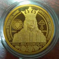 SV * Medalie  ȘTEFAN CEL MARE 1457-1504-2004 * APARATORUL CRESTINATATII * AURITĂ