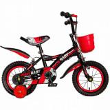 Bicicleta baieti Rich Baby T1204C 12 inch C-Brake cu roti ajutatoare 2-4 ani negrurosu