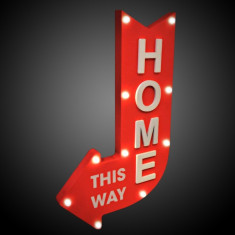 Panou luminos decorativ Home this way, 10 LED-uri, sageata stanga, lemn