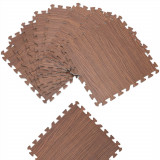 Covor pentru protectie pardoseala, Puzzle, 8 bucati, Aspect lemn maro