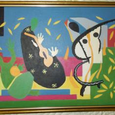 """Tablou in ulei reproducere dupa Matisse """"Tristetea regelui"""" 33x43 cm,rama lemn"""