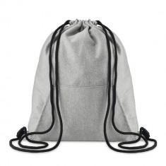 Saculet cu cordon si buzunar frontal, Everestus, SA04, tesatura lana, gri, saculet de calatorie si eticheta bagaj incluse