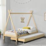 Pat copii Aris Beige, 206 x 96 x 162 cm, lemn,culoarea bradului natur, cu pat suplimentar pe roti