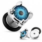 Plug fals de ureche din oțel - ochi albastru în gheare, cerc cu bandă de cauciuc