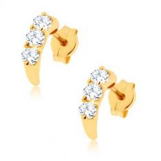 Cercei din aur de 14K - arc decorat cu diamante