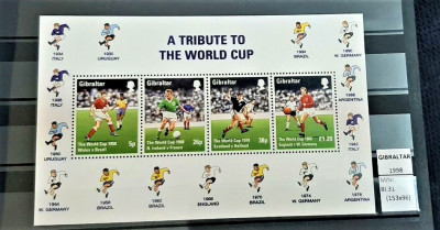 GIBRALTAR 1998 - Fotbal  , Bloc de 4 valori foto