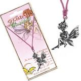 Colier - șnur roz, pandantiv din metal, zână pe o floare