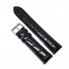 Curea ceas Neagra din piele naturala, imprimeu crocodil - 18mm, 20mm, 22mm, 26mm - WZ3594