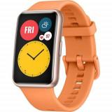 Ceas activity tracker Huawei Watch Fit, Display AMOLED 1.64inch, 4GB Flash, Bluetooth, GPS, Bratara Silicon, Rezistent la apa, Android/iOS (Portocaliu