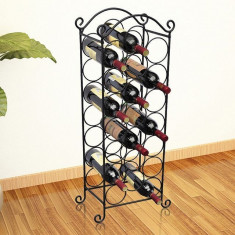 vidaXL Suport sticle de vin pentru 21 de sticle, metal
