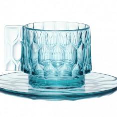 Ceasca si farfuriuta Kartell Jellies Family design Patricia Urquiola albastru transparent