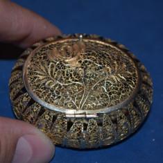 CUTIE de bijuterii ARGINT 925 aurit - Caseta - Filigram - China - Vintage - 30g.