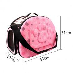 Geanta transport animale de companie, pliabila, roz, Gonga