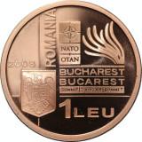 Moneda 1 leu 2008 BNR, tombac  proof - Summitul NATO Bucuresti 2008
