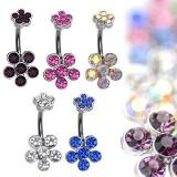 Inel pentru buric din oțel încheiat cu flori din zirconiu - Culoare zirconiu piercing: Roz - P