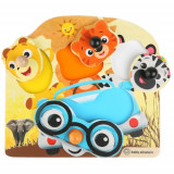 Jucarie de Lemn Baby Einstein Friendly Safari Faces Puzzle