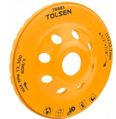 Piatra de slefuit cupa turbo segmentata 125 mm, Tolsen Tools foto