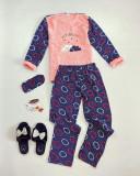 Pijama dama cu cerculete bleumarin cu roz extrem de pufoasa si calduroasa cu imprimeu Youreso