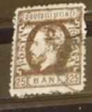 ROMANIA 1872 – 25 bani sepia CAROL I CU BARBA, timbru DT stampilat, S6