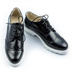 Pantofi de dama cu talpa joasa casual negri marimea 39