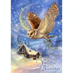 Felicitare Crăciun cu bufnita Yuletide Blessings