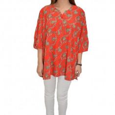 Bluza casual-elegant, lejera, model vintage, in nuanta de rosu