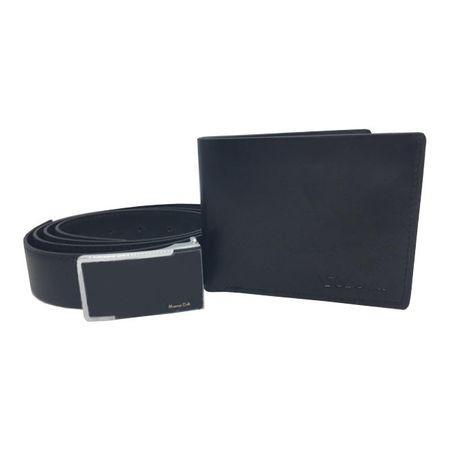 Set cadou pentru barbati, portofel si curea, piele ecologica, negru
