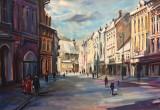 Tablou in ulei -iarna pe Muresenilor, Peisaje, Impresionism