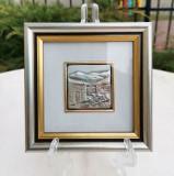 Set 4 x mini tablouri din argint 925 cu certificat, Italia