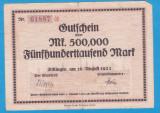 (1) BANCNOTA (GROSSNOTGELD) GERMANIA - DILLINGEN - 500.000 MARK 1923 (16 AUG.)