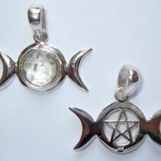 Pandantiv argint Fazele lunii cu pentagrama - cristal cuart