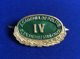 Insignă - Semn de armă - Academia de Poliție - Alexandru Ioan Cuza IV (verde)