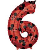 Cumpara ieftin Balon Folie Figurina Mickey Mouse Forever Cifra 6 rosu- 66 cm, Amscan 41707, 1 buc