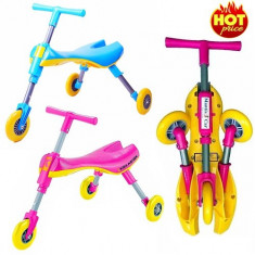 Tricicleta pentru copii fara pedala cu 3 roti pliabila