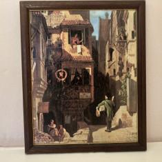 Litografie veche franceza,personaje pe strada