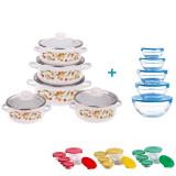 Pachet Bucătărie Set 5 Cratițe Emailate + Capace Sticlă și Set 5 Boluri de Sticlă + Capace (diverse culori)