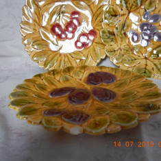 set de 3 farfurii vechi din majolica Sarreguemines