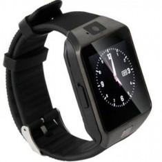 Smartwatch iUni DZ09 Plus, 1.54inch, 1.3MP, Bluetooth, Bratara silicon (Negru)