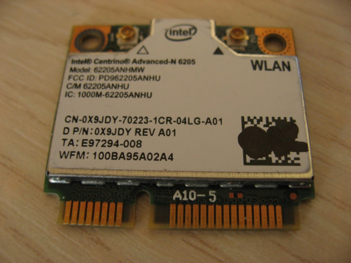 Placa wireless laptop Dell Precision M4600, Intel Advanced-N 6205, 6205ANHMW