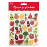 Cumpara ieftin Abtibilduri DACO, Lipeste si Zambeste, Model Fructe Legume, 30 Buc/Set, Multicolor, Autocolante Copii, Stickere Decorative, Stickere pentru Copii, Abt