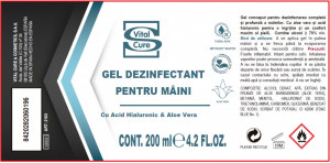 Gel dezinfectant pentru maini cu aloe vera si acid hialuronic Gel Limpia Manos Vital Cure Salerm Cosmetics 200ml